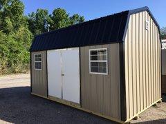 10x16 Metal Amish Clay w/Black Trim Barn