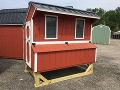 5x8 Red Chicken Coop