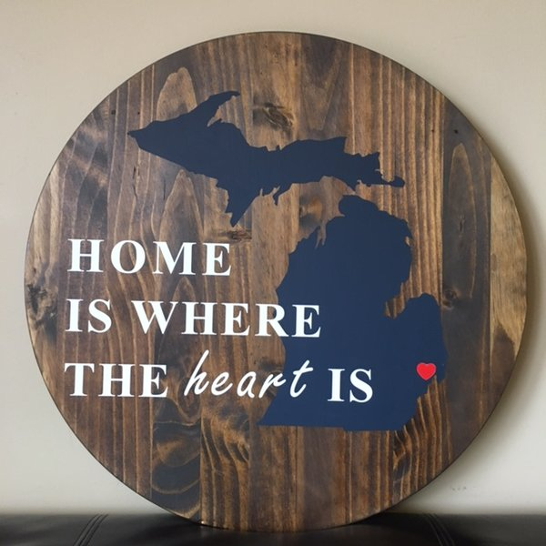 circular wooden signs home is where the heart is wood love signs