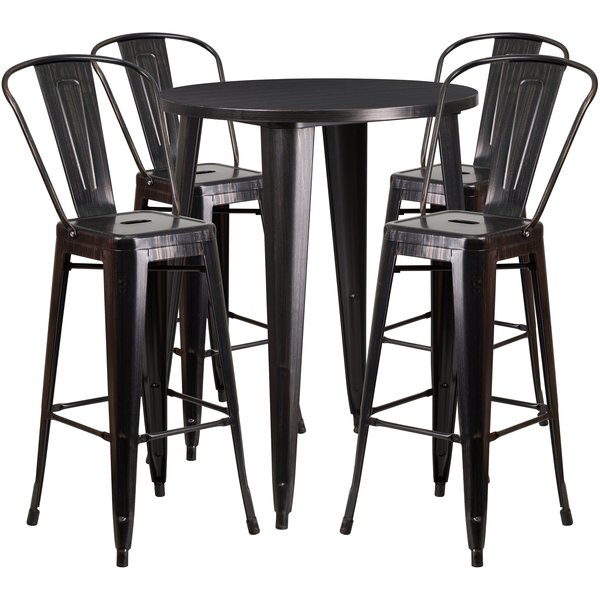 30'' Round Black-Antique Gold Metal Indoor-Outdoor Bar Table Set with 4  Cafe Stools - 30RD Antique Metal Bar Set KenwoodFurnishings.com Buy Furniture