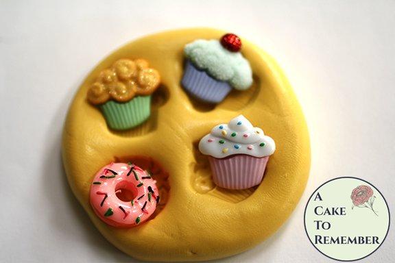 Cupcakes and doughnut miniature silicone rubber mold M5197