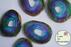 12 edible agate slice druzy geode for cupcake toppers and cake decorating.