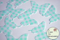 24 teal gingham edible butterflies for cake decorating.