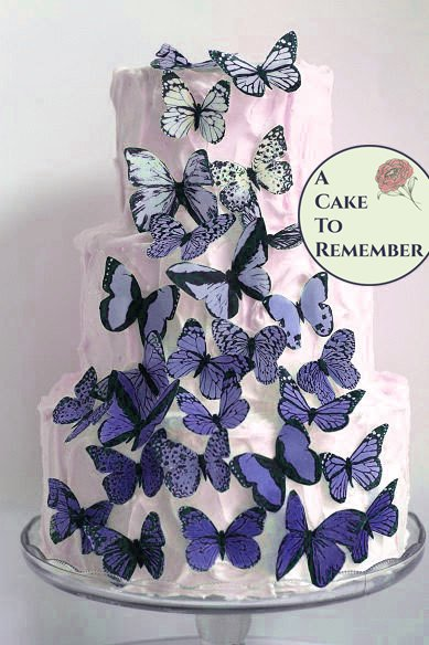 30 blue violet ombre wafer paper butterflies for wedding cake decorating and cupcake toppers