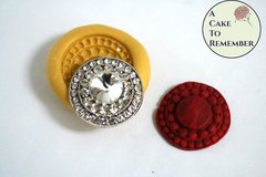 Jewel silicone mold for fondant, gumpaste, polymer clay, or resin mold. Jeweled brooch mold for cake or cupcake toppers M5106