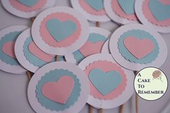 Gender reveal party cupcake toppers, gender reveal baby shower cake toppers, gender reveal decorations, gender reveal party ideas.