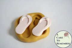 Flip flops silicone mold for fondant, gumpaste, polymer clay, or resin mold. Shoes mold for beach cakes and cupcake toppers, M5116
