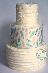 Pale pink and blue feathers wafer paper- 3 edible sheets for cake decorating
