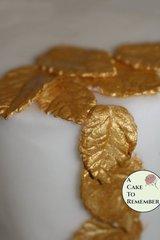 12 Gumpaste gold leaves for cake decorating, gold sugar leaves, cupcake decorating