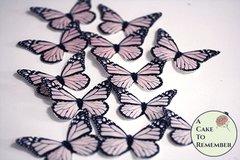 Blush pink cake decorating butterflies, 12 wafer paper monarchs