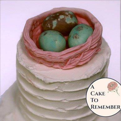 Gumpaste bird's nest gender reveal party cake topper, baby shower cake topper, wedding cake topper, rustic wedding cake topper