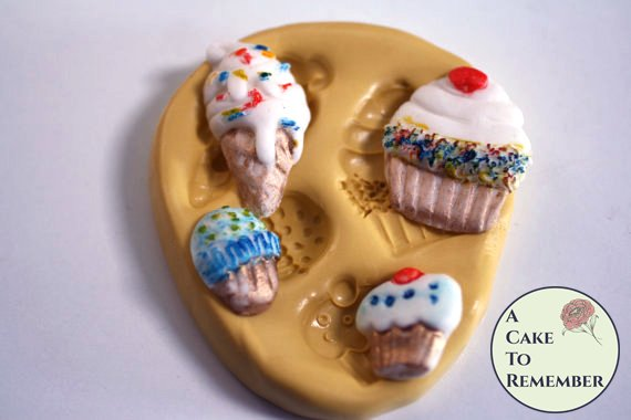 Ice cream and cupcakes mold for cake decorating, polymer clay. Cake supplies and cake silicone molds for DIY kids cakes. M5044