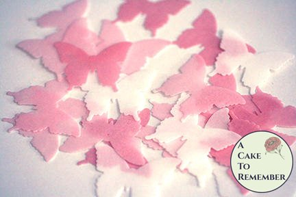 pink edible butterflies. 24 wafer paper butterflies for cake decorating, cupcake decorating and cookie decorating