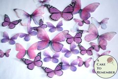 26 Pink edible butterflies for a rustic wedding cake or a spring wedding cake. Butterfly wedding cake decorations, bridal shower ideas.
