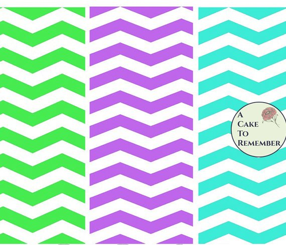 Digital download--Set of blue/green/purple chevron prints for wafer paper for cake decorating