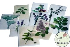 12 vintage botanical herbs and flowers edible wafer paper images for cookies and cookie decorating.