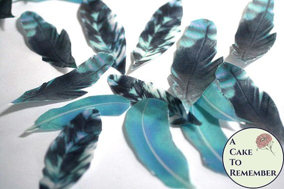 "15 large 3.5-4"" wafer paper feathers, shades of blue and teal. Edible feathers for a unique wedding or birthday cake topper"