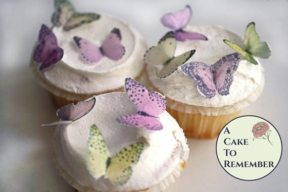 24 small pink and yellow mini cupcake decorations edible butterflies