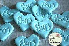 Gumpaste monogram hearts for cupcake toppers. Wedding cupcake toppers