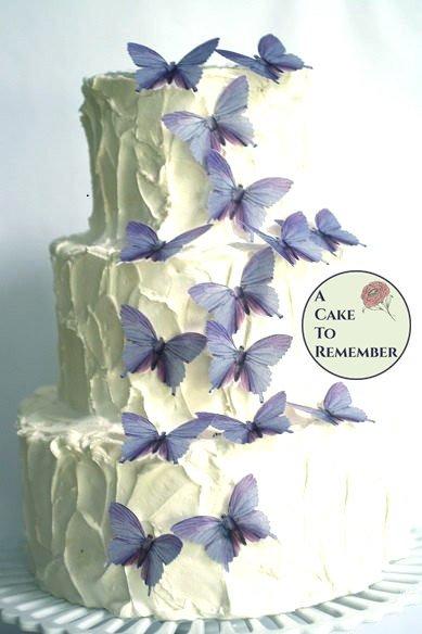 """15 lavender color romantic cake topper edible butterflies. 2"""" wide."""