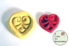 Jeweled heart mold for cake decorating, cupcake decorating and cake pops. Also polymer clay and resin. Heart mould.