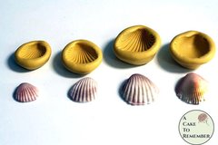 Set of 4 clamshell molds for cake decorating or polymer clay, edible shells for cupcakes and beach cakes. M35