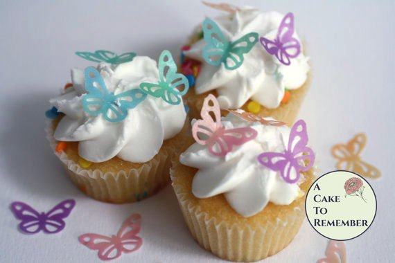 """36 1"""" wide lacy edible wafer butterflies for cupcakes and cake pops."""