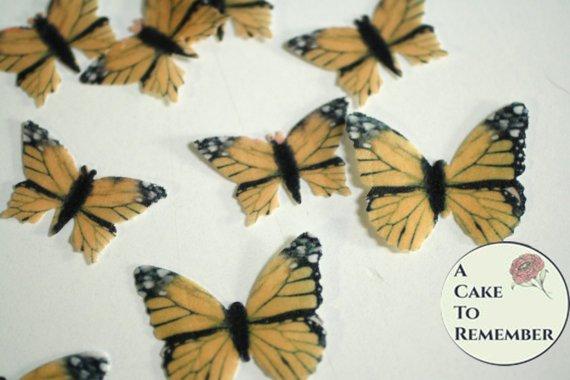 48 small mini cupcake decorations edible monarch butterflies
