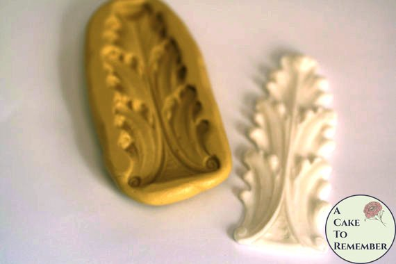 Short acanthus leaf scroll mold for cake decorating, polymer clay. Cake supplies and cake silicone molds for DIY wedding cakes. M5030