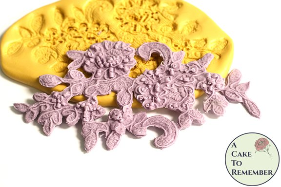 Beaded floral and swirl silicone lace mold M5178