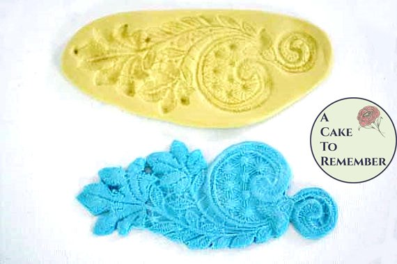 Silicone leaf and swirl lace mold for cake decorating  Mold for cake lace. M1015