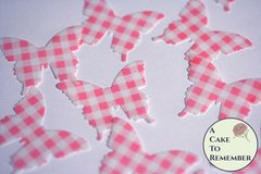 24 red gingham edible butterflies for cake decorating.