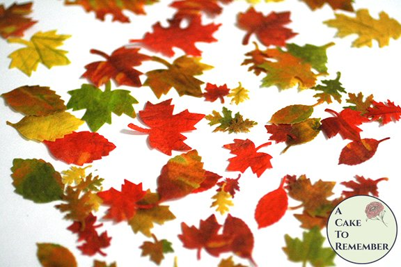 """64 small edible autumn leaves for cakes, .5"""" to 1.5"""" wide. Color on both sides"""