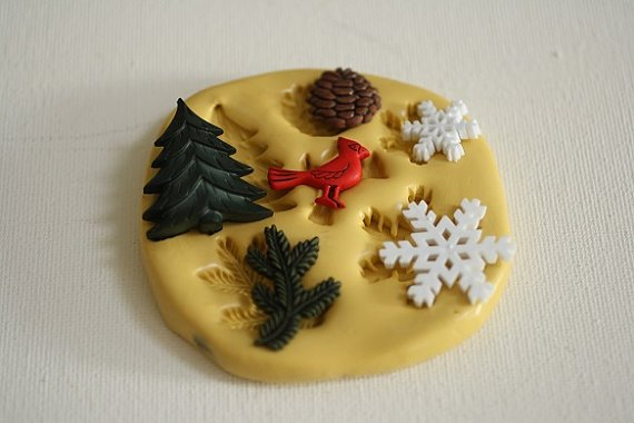 Winter mold for cake decorating, cupcake decorating, chocolate, polymer clay, gumpaste, rustic cakes, M5056