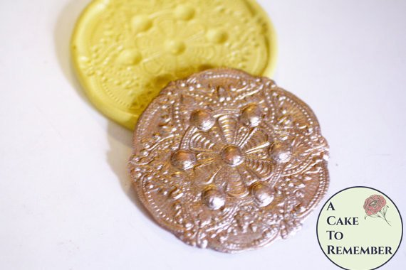 Round filigree medallion mold for cake decorating, chocolate mold, polymer clay mold, silicone lace mold, silicone mould, cake lace mold