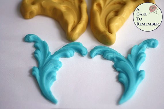 Split scroll mold set for cake decorating, chocolate mold, polymer clay mold, silicone scroll mold, silicone mould, baroque scroll  M5039