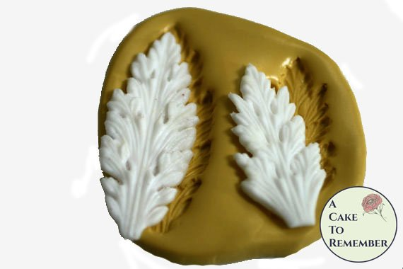 Pointed acanthus leaf scroll mold set for cake decorating, polymer clay. Cake supplies and cake silicone molds for DIY wedding cakes. M5041