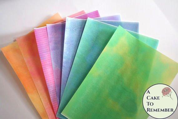 "3 full sheets watercolor effect printed wafer paper (choose one color) for cake or cupcake decorating. 8"" x 10"" edible paper prints, vegan."