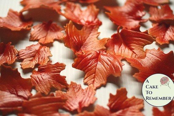 12 Autumn gumpaste leaves for cake decorating