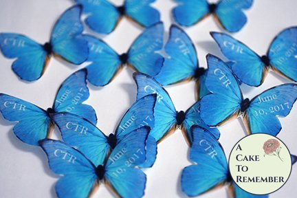 12 personalized wafer paper edible butterflies for weddings or birthdays.
