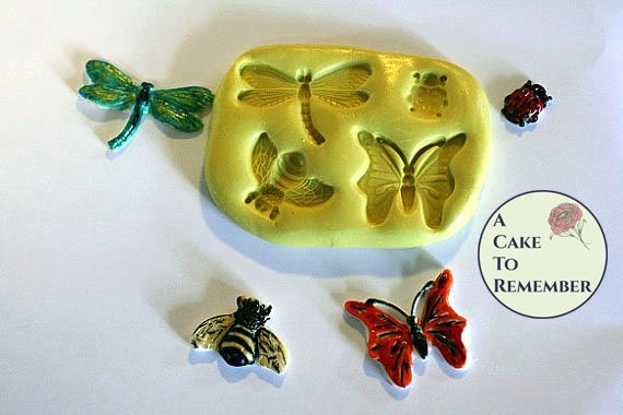 Four bugs silicone mold for cake decorating, cupcakes, cake pops or polymer clay