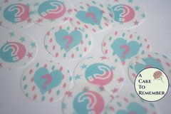 12 gender reveal party wafer paper circles for cookies or cupcake toppers.