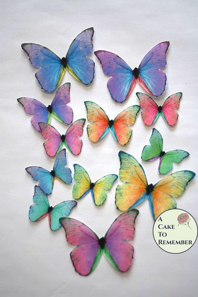 Rainbow edible butterflies, 12 wafer paper edible butterflies for wedding cake toppers.