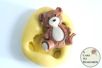 "1"" mini mold sitting teddy bear flexible silicone mold M5208"