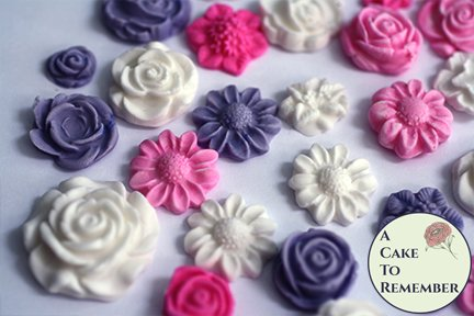 24 small fondant flowers for cupcake toppers and cookie and cake decorating.