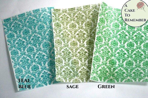 Three sheets printed wafer paper damask pattern