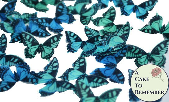 36 edible butterflies for cake decorating, cookies, cupcake decorating, cake pops. Wafer paper butterflies, wedding cake toppers.