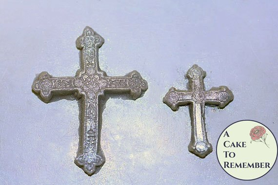 "Cross mold set, 1"" and 1.5"" tall, silicone mold for cake decorating. M1028"