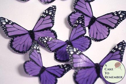 12 purple edible wafer paper monarch butterflies