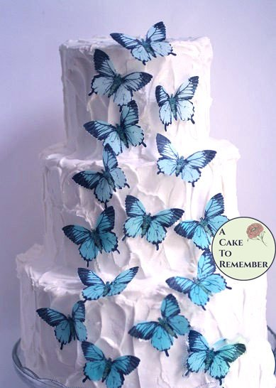12 large edible butterflies for cake decorating, cookies, cupcake decorating, cake pops. Wafer paper butterflies, wedding cake toppers.